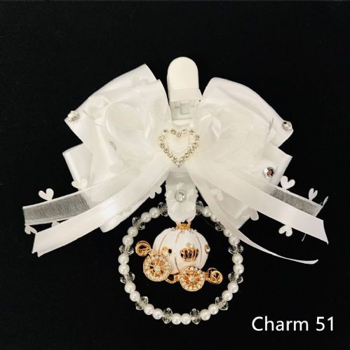 Stunning Hand Craft Pram Charm/All White Ribbon/White Carriage